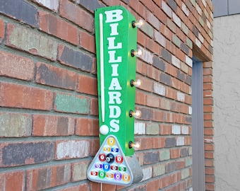 On Sale! BILLIARDS Metal Sign - Plugin or Battery Operated - Pool Table Hall Bar Lounge - Double Sided Rustic Vintage Style Marquee Light Up