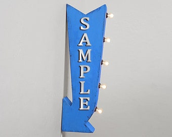 """On Sale! 25"""" MALTS Metal Arrow Sign - Plugin or Battery Operated - Malt Shakes Smoothies Drinks Ice - Double Sided Rustic Marquee Light Up"""