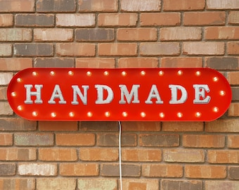 """On Sale! 39"""" HANDMADE Metal Oval Sign - Hand Made Handcrafted Craft Crafted Manual Custom - Vintage Style Rustic Marquee Light Up"""