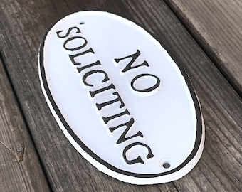 On Sale - NO SOLICITING Metal Vintage Antique Style Solid Iron Door Sign Plaque - 4 color options!