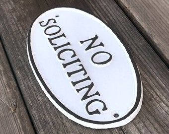 On Sale! - NO SOLICITING Metal Vintage Antique Style Solid Iron Door Sign Plaque - 4 color options!