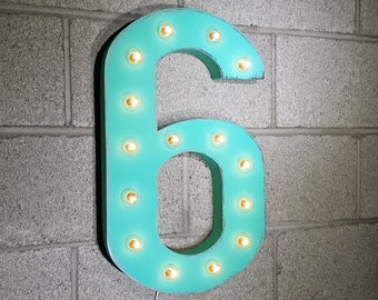 ON SALE! Battery Operated Number 6 Six. 21 Color Options! Hang or Free Stand. Rustic Metal Marquee Led Light Up Sign. 0 1 2 3 4 5 6 7 8 9