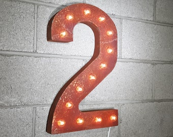 """On Sale! 21"""" 2 Metal Sign - Number 2 Two Dos Numero 0 1 2 3 4 5 6 7 8 9 Free Standing or Hang - Rustic Vintage Marquee LED Light Up"""
