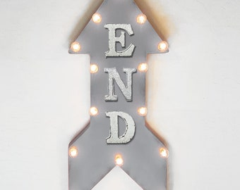"On Sale! 24"" END Straight Arrow Sign - Finish Line Beginning Begin Done Race - Rustic Vintage Marquee Light Up"