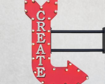 "On Sale! 36"" CREATE Metal Arrow Sign - Craft Art Arts & Crafts Crafting Design - Double Sided Hang or Suspend - Rustic Marquee Light Up"