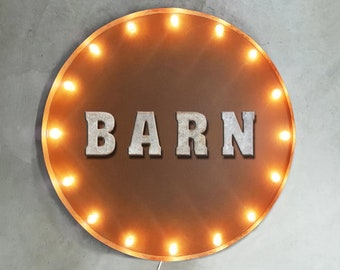 "On Sale! 30"" BARN Round Metal Sign - Plugin or Battery Operated - House Heart Live Living Room Welcome - Rustic Vintage Marquee Light Up"