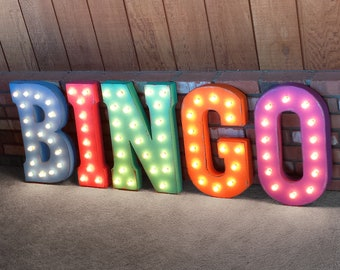 ON SALE! BINGO Board Marker Dauber Game 1TG 2TG Free Standing or Hang. Rustic Metal Vintage Style Marquee Sign Light Up Letters. 24 Colors.