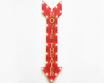 "On SALE! 48"" MOVIE THEATER Movies MovieTheater Theatre Cinema Plugin Battery Operated led Rustic Metal Straight Light Up Arrow Marquee Sign"