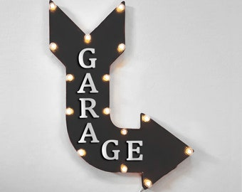 "On Sale! 24"" GARAGE Curved Metal Arrow Sign - Workshop Mechanic Shop Tools Cave Vehicle Repair Auto Body - Rustic Vintage Marquee Light Up"