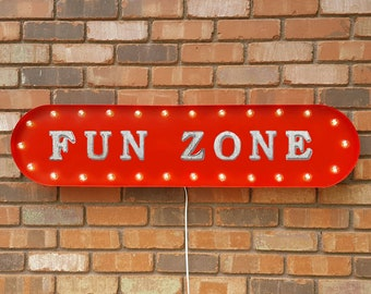 """On Sale! 39"""" FUN ZONE Metal Oval Sign - Exciting Wonderful Kids Toys Play - Vintage Style Rustic Marquee Light Up"""
