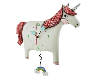Buttercup Pony with Rainbow - Whimsical White Unicorn - Animated Pendulum Wall Clock