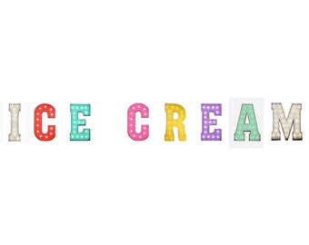 "On Sale! 21"" ICE CREAM Metal Sign - Creamery Sweet Frozen Treat Free Stand or Hang - Rustic Vintage Style Marquee Light Up Letters"