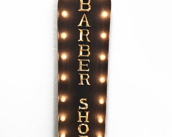 "On Sale! 39"" BARBER SHOP Barber Parlor Shop Haircut Haircuts Hair Style Kids Vintage Style Rustic Metal Marquee Light Up Sign"