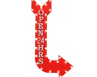 "On Sale! 48"" OPEN 24 HRS Metal Arrow Sign - Open Come In Vintage This Way Hrs - Vintage Rustic Curved Marquee Light Up"