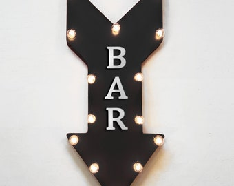 "On Sale! 24"" BAR Straight Metal Arrow Sign - Open Welcome Drinks Drink Pub - Rustic Vintage Marquee Light Up"