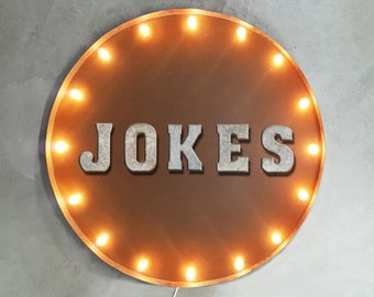 """On Sale! 30"""" JOKES Round Metal Sign - Plugin or Battery Operated - Comedy House Joke Laugh - Rustic Vintage Marquee Light Up"""