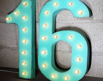 """On Sale! 21""""  SWEET 16 Metal Sign - Birthday Party Prop Numbers Free Standing or Hang - Rustic Vintage Style Marquee Light Up"""