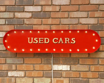 "On Sale! 39"" USED CARS Auto For Sale Car Parking Lot No Frills Vintage Style Rustic Metal Marquee Light Up Sign"