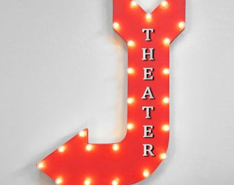 """On Sale! 36"""" THEATER Sign Metal Arrow Sign. Plugin or Battery Operated. Cinema Theatre Movie Movies Film Popcorn - Rustic Marquee Light Up"""