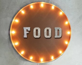 "On Sale! 30"" FOOD Round Metal Sign - Plugin or Battery Operated - Eat Cafe Restaurant Bakery Drink - Rustic Vintage Marquee Light Up"
