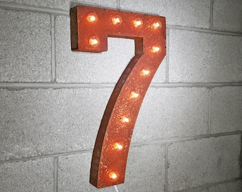 ON SALE! Battery Operated Number 7 Seven. 21 Color Options! Hang or Free Stand. Rustic Metal Marquee Led Light Up Sign. 0 1 2 3 4 5 6 7 8 9