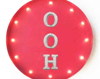 "On Sale! 20"" OOH Round Metal Sign - Plugin or Battery Operated - Oh Ah Aah Relax Peace Enjoy - Rustic Vintage Marquee Light Up"