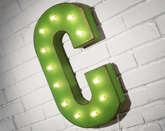 """ON SALE! 21"""" Metal Letter C - Plugin, Battery Operated or Solar Powered - Rustic Nostalgic Vintage Style - Light Up Marquee Letter Sign."""