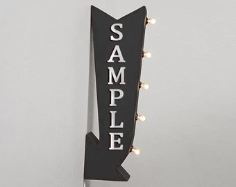 """On Sale! 25"""" VIBES Metal Arrow Sign - Plugin or Battery Operated - Vibe Groove Happy Peace - Double Sided Rustic Marquee Light Up"""