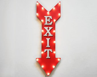 "On Sale! 36"" EXIT Metal Arrow Sign - Plugin or Battery Operated Led - Leave Come In Store Door Enter Entrance - Rustic Marquee Light up"