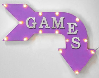"On Sale! 24"" GAMES Curved Metal Arrow Sign - Game Play Toys Fun Video - Rustic Vintage Marquee Light Up"