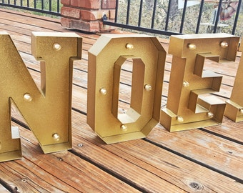 ON SALE Metal NOEL Holiday Christmas Marquee Sign Led Light. Includes Extra Bulbs & Batteries!