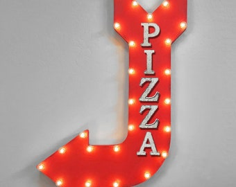 """On Sale! 36"""" PIZZA Metal Arrow Sign - Italian Restaurant Pizzeria Restaurant - Double Sided Hang or Suspend - Rustic Marquee Light Up"""