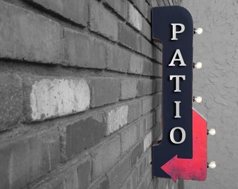 """On Sale! 30"""" PATIO Metal Arrow Sign - Plugin or Battery Operated - This Way Dining Room Seating Sit - Double Sided Rustic Marquee Light Up"""