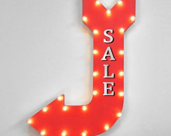 "On Sale! 36"" For SALE Sign Metal Arrow Sign. Plugin or Battery Operated. Special Clearance Discount Markdown Deal - Rustic Marquee Light Up"