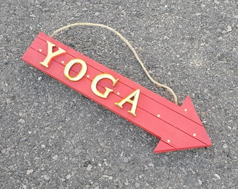 """ON SALE! 21"""" YOGA Wood Battery Operated led Rustic Wooden Open Entrance Health Fitness Workout Gym Club Arrow Marquee Light Up Sign"""