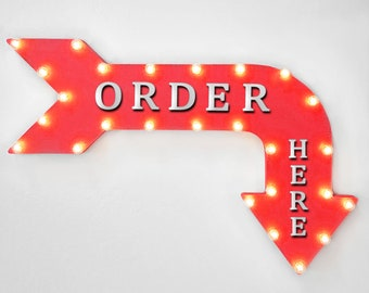 """On Sale! 36"""" ORDER HERE Metal Arrow Sign - Plugin, Battery or Solar - Place Your Order This Line Up Here - Rustic Marquee Light Up Sign."""
