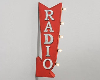 """On Sale! 25"""" RADIO Metal Arrow Sign - Plugin or Battery Operated - Station Podcast Tunes Music - Double Sided Rustic Marquee Light Up"""