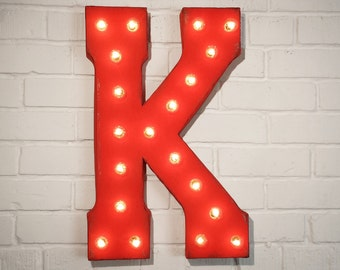 "On Sale! 21"" Letter K Metal Sign - Rustic Vintage Style Custom Marquee Light Up Alphabet Letters"