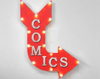 "On Sale! 24"" COMICS Curved Metal Arrow Sign - Books Book Store Super Hero - Rustic Vintage Marquee Light Up"