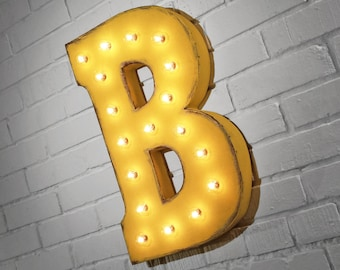 "On Sale! 21"" Letter B Metal Sign - Rustic Vintage Style Custom Marquee Light Up Alphabet Letters"