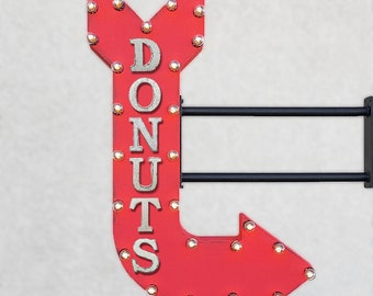 "On Sale! 36"" DONUTS Metal Arrow Sign - Bakery Pastry Breakfast Doughnut Doughnuts - Double Sided Hang or Suspend - Rustic Marquee Light Up"