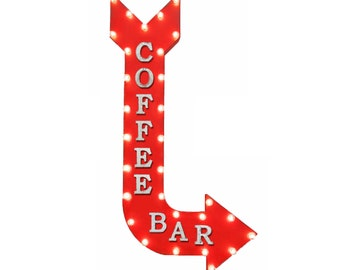"""On Sale! 48"""" COFFEE BAR Cafe Espresso Shot Latte Plugin or Battery Operated led Vintage Rustic Metal Curved Arrow Marquee Light Up Sign"""