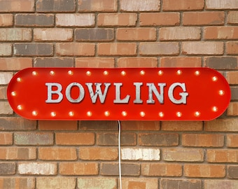 "On Sale! 39"" BOWLING Metal Oval Sign - Ball Pin Alley Bowl Lanes Lucky Strike Spare Turkey - Vintage Style Rustic Marquee Light Up"