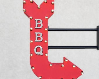 "ON SALE! 36"" BBQ Plugin Double Sided Eatery Bar Cafe Barbecue Restaurant Diner Rustic Metal Marquee Sign Arrow Light Up - 14 Colors"