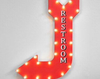 """On Sale! 36"""" RESTROOM Metal Arrow Sign - Plugin or Battery Operated - Men's Women's Restrooms Potty Ladies - Rustic Marquee Light up"""