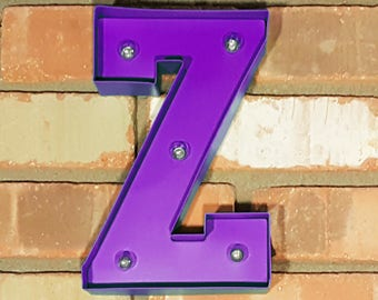 "On Sale! 9"" Letter Z - Battery Operated Metal Marquee Sign LED Light with Extra Bulbs. Batteries Included! Purple"