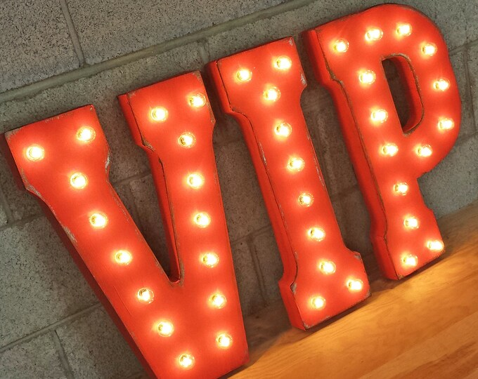 """Featured listing image: On Sale! 21"""" VIP Metal Sign - Club Nightclub Star Showbiz Superstar Stand or Hang - Rustic Vintage Style Marquee Light Up Letters"""
