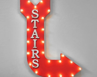 "On Sale! 36"" STAIRS Metal Arrow Sign - Plugin or Battery Operated - Staircase Going Up Down Take The - Rustic Marquee Light up"
