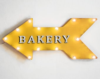 """On Sale! 24"""" BAKERY Straight Metal Arrow Sign - Bread Pastry Pastries Flour Bake Baking Scone - Rustic Vintage Marquee Light Up"""
