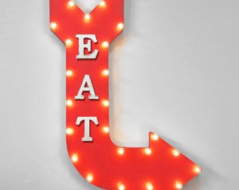 """ON SALE! 36"""" EAT Food Menu Restaurant Brunch Diner Plug-In or Battery Operated led Open Light Up Large Rustic Metal Marquee Sign Arrow"""